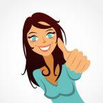 jolie femme souriante pouce levé